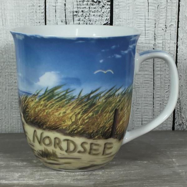 Großer Kaffeebecher maritim NORDSEE Strand Becher Tasse Kaffeetasse Porzellan