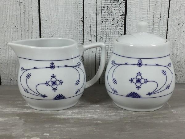 2er Set Milch & Zucker Indisch Blau Milchkännchen Zuckerdose Porzellan maritim