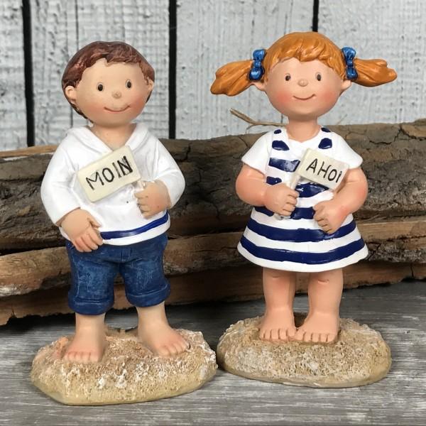 2er - Set Deko Figur maritime Kinder MOIN AHOI 9cm Küstenkinder Matrosen
