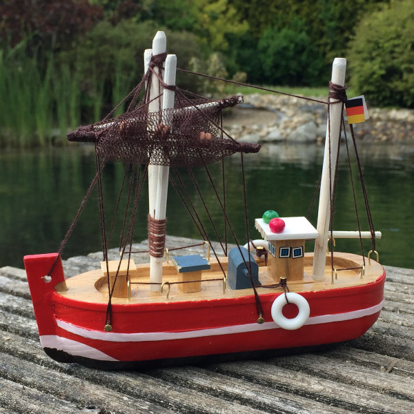 Deko Krabbenkutter aus Holz 15cm rot Fischkutter Holzboot Kutter maritim