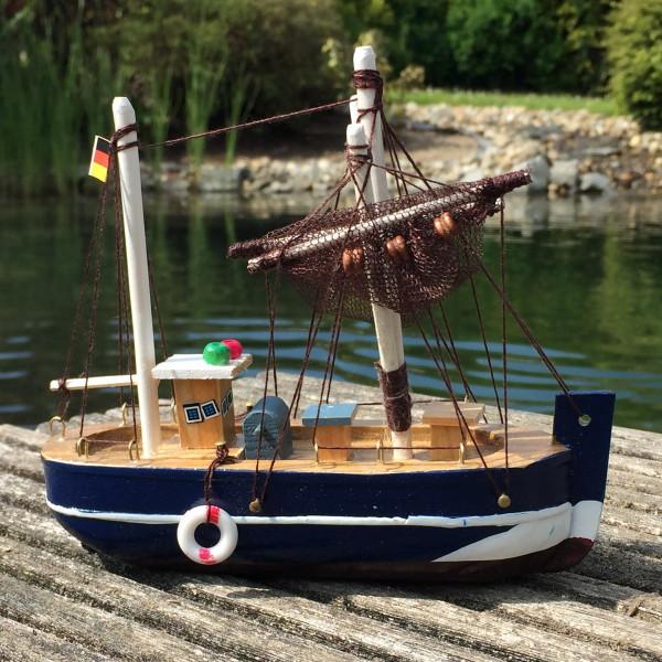 Deko Krabbenkutter aus Holz 15cm blau Fischkutter Holzboot Kutter maritim