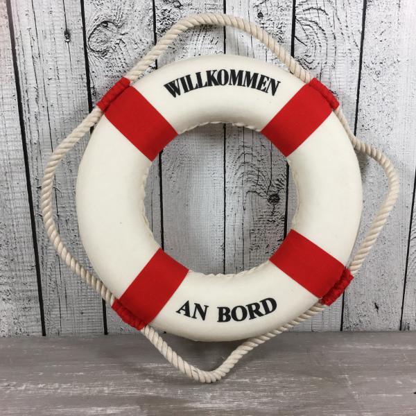 Deko Rettungsring rot/weiß 25 cm Willkommen an Bord für die maritime Dekoration