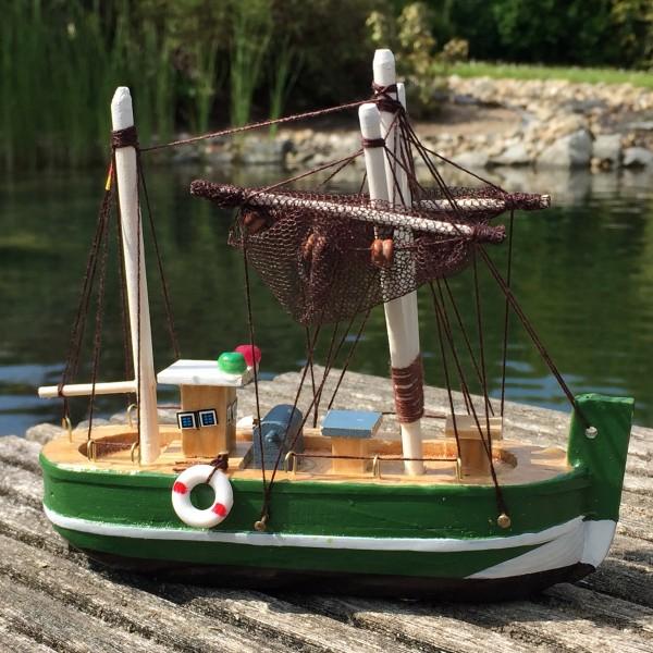 Deko Krabbenkutter aus Holz 15cm grün Fischkutter Holzboot Kutter maritim