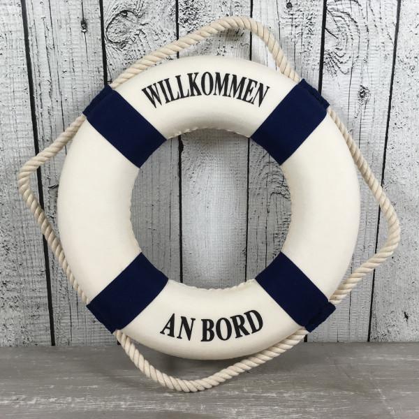 Deko Rettungsring blau/weiß 25 cm Willkommen an Bord für die maritime Dekoration