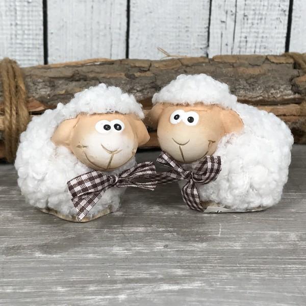 2-er - Set Deko Figur Schaf mit Plüschfell Wolle ca.6,5cm Schafe Lamm