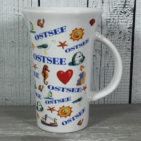 Hoher Kaffeebecher OSTSEE maritim Seehund Kutter Möwe Strandkorb Seestern