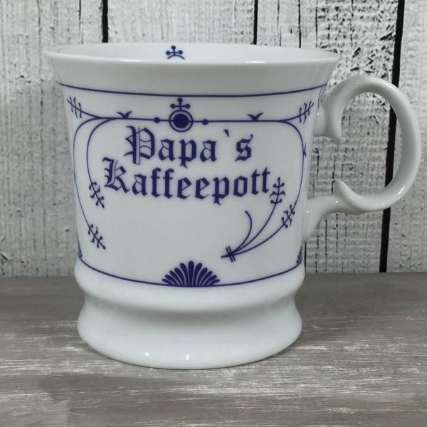 Herrenbecher Indisch Blau PAPAS KAFFEEPOTT Tasse Becher Kaffeebecher maritim