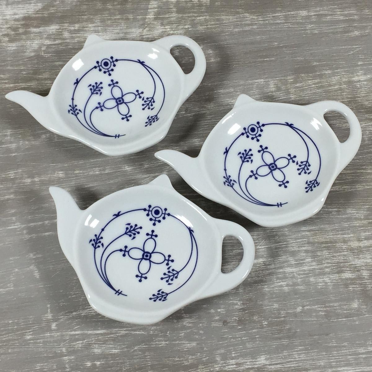 3er - SET Teebeutelablage Indisch Blau aus Porzellan maritim Tee Zubehör