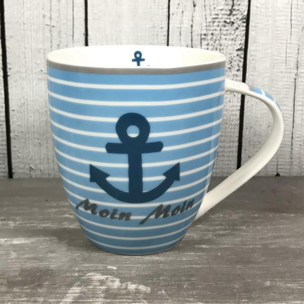 Großer Kaffeebecher Porzellan Anker MOIN MOIN blau weiß Becher Tasse maritim