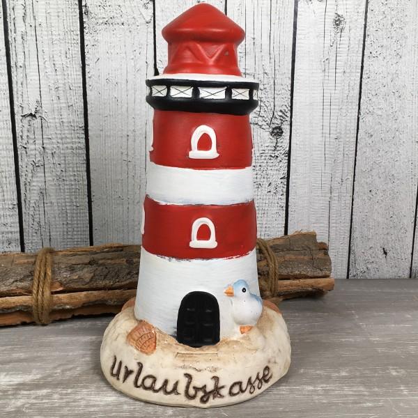 Spardose Leuchtturm Urlaubskasse rot / weiß 23cm aus Keramik Deko maritim