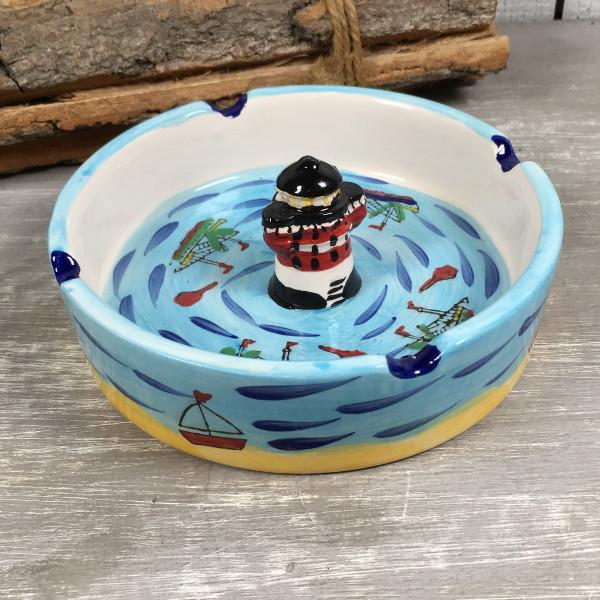 Aschenbecher Leuchtturm Roter Sand 12cm Keramik Maritim Ascher Deko