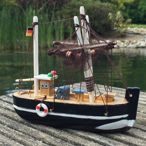 Deko Krabbenkutter aus Holz 15cm schwarz Fischkutter Holzboot Kutter maritim