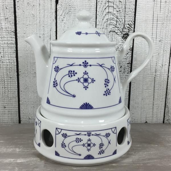 Indisch Blau Set Teekanne mit Stövchen aus Porzellan maritim 400ml