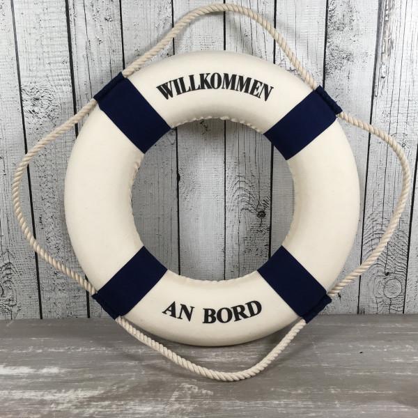 Deko Rettungsring blau/weiß 35 cm Willkommen an Bord für die maritime Dekoration