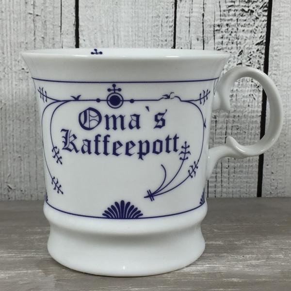 Herrenbecher Indisch Blau OMAS  KAFFEEPOTT Kaffeebecher Tasse Becher maritim
