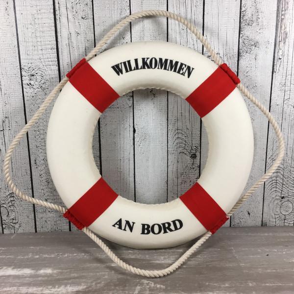 Deko Rettungsring rot/weiß 35 cm Willkommen an Bord für die maritime Dekoration