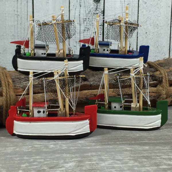 Deko Krabbenkutter 4er - Set aus Holz 8cm Holzkutter Fischkutter Kutter maritim