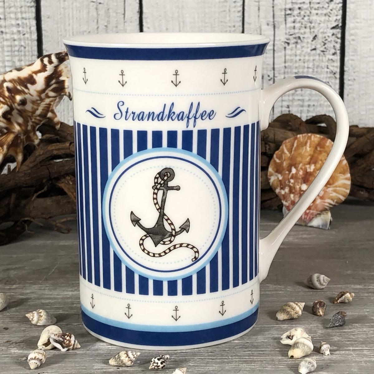 Kaffeebecher Porzellan ANKER Strandkaffee blau weiß Becher Tasse maritim